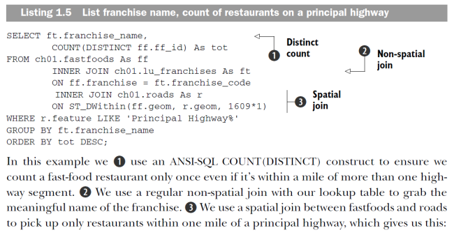 spatial and non-spatial join fastfood restaurants along a highway